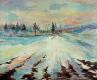 Frozen Lake. Original oil painting showing frozen lake in the mountains.Winter scene.Modern Impressionism vector illustration