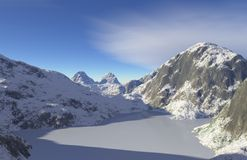 Frozen Lake. Digital render of a frozen lake surrounded by snowy mountains stock illustration