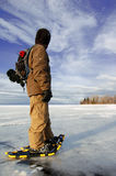 Frozen Lake. Snowshoeing on Lake Superior in January Stock Images