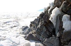 Frozen lake. Frozen Baikal lake in winter Royalty Free Stock Image