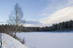 Frozen Lake. Frozen, snow covered lake and blue sky Royalty Free Stock Photography