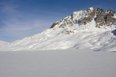 Frozen lake on the alps in winter. Frozen lake on the alps (formazza valley) in winter Royalty Free Stock Photo