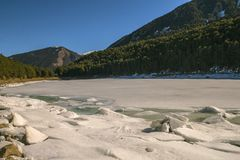 Frozen Lake in Andorra with blue sky royalty free stock photo