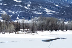 Frozen lake and Aspen trees in Wasatch Mountain peaks in northern utah in the wintertime Stock Photos