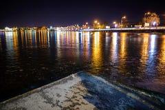 Iced lake at night road royalty free stock photos