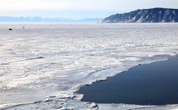 Frozen Lake Baikal. In winter. Day Stock Photos