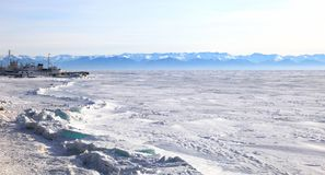 Frozen Lake Baikal Stock Photography