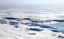 Frozen Lake Baikal. Ice dessert. Frozen Lake Baikal. Winter. Day Stock Photos
