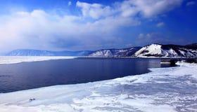 Frozen Lake Baikal. Spring. Day. Mountains on horizon Royalty Free Stock Images