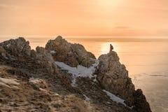 Frozen Lake Baikal. Cold -30 degrees,winter ,baikal , russia Stock Photography