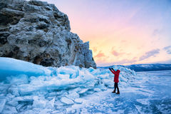 Frozen Lake Baikal. Cold -30 degrees,winter ,baikal , russia Royalty Free Stock Image