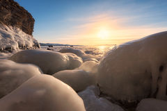 Frozen Lake Baikal. Cold -30 degrees,winter ,baikal , russia Royalty Free Stock Photo