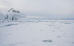 Frozen Lake Baikal. Winter. Stock Photos