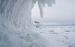 Frozen Lake Baikal. Winter. Stock Photo