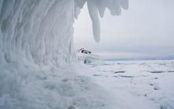 Frozen Lake Baikal. Winter. Stock Photo