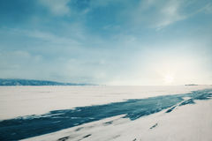 Frozen Lake Baikal. Winter. Royalty Free Stock Photography