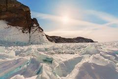 Frozen Lake Baikal. Winter. Royalty Free Stock Photography