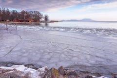 Frozen lake Balaton of Hungary Stock Photos