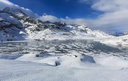 Frozen lake at Bernina Pass in Switzerland. Stock Photo