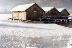 Frozen lake boathouse Stock Photos
