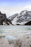 Frozen lake Braies at Dolomites Royalty Free Stock Photo