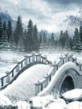 Frozen lake with a bridge. Winter scenery with a frozen lake and a bridge Royalty Free Stock Photos