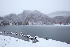 Frozen lake and bridge Royalty Free Stock Photo