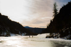 Frozen Lake In Canada stock photos