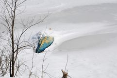 A frozen lake captures a boat. A frozen lake captures an overturned canoe Stock Photography