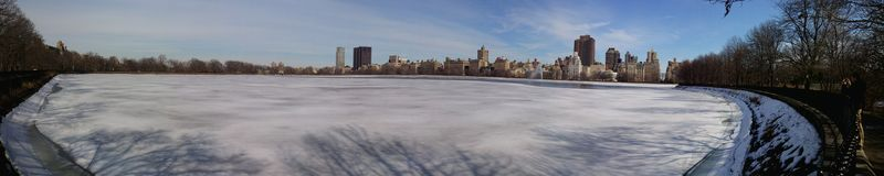 Frozen lake in the central park stock image
