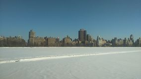 Frozen lake - Central park on Winter stock images