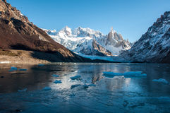 Frozen lake at the Cerro Torre, Fitz Roy, Argentina Stock Photos
