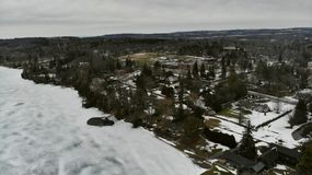 Frozen lake in the city. Aerial view Royalty Free Stock Photos