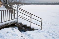 Frozen Lake In City Stock Photos
