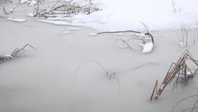 Frozen lake closeup stock footage