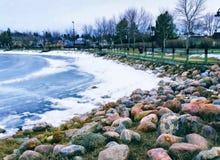 Frozen lake at City of Cold Lake Royalty Free Stock Image