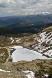 Frozen lake in Colorado stock photo