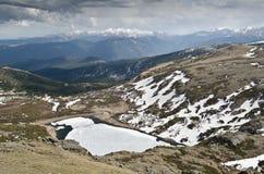 Frozen lake in Colorado stock photos
