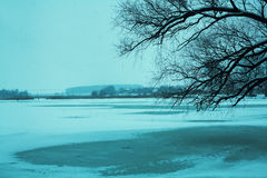 Frozen lake covered with snow Stock Photography