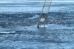 Frozen lake, covered with thin ice Stock Photo