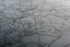 Frozen lake with cracks. Cracks on the surface of a frozen lake in the Netherlands Stock Images