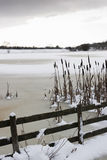Frozen lake at Cramlington, Northumberland Stock Photography