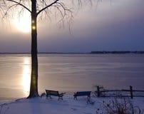 Frozen Lake at Dawn Stock Photos
