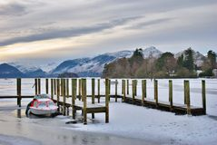 Frozen lake Derwent Water Stock Images