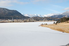 Frozen lake in Estes Park Colorado Royalty Free Stock Image
