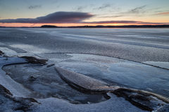 Frozen lake in Finland at dawn Royalty Free Stock Photography
