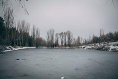 A frozen lake royalty free stock image