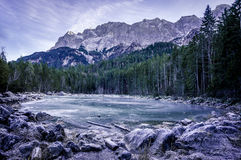 Frozen lake in the German Alps Stock Photo
