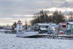 Frozen Lake Huron Harbor in Winter Stock Photo
