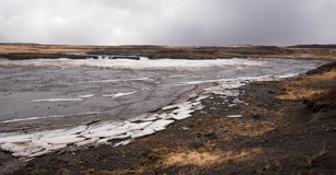 Frozen lake with ice  in iceland Royalty Free Stock Photography